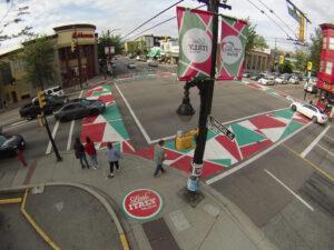 TrafficPatterns Decorative Asphalt Crosswalk Commercial Drive Vancouver BC Canada