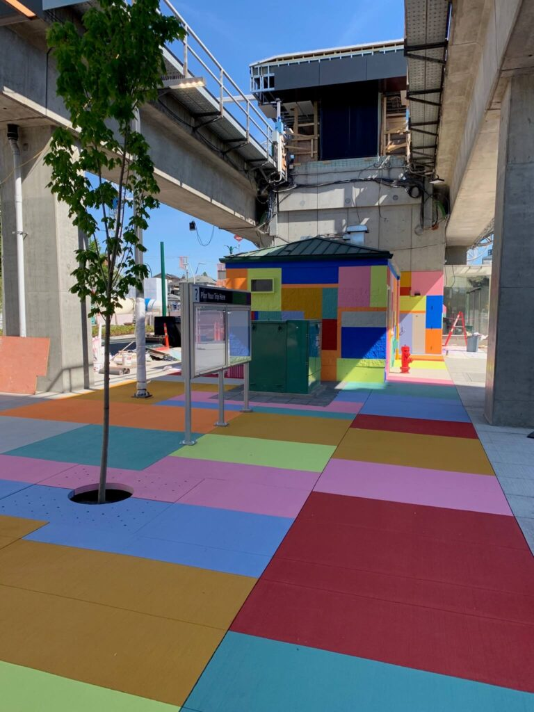 joyce skytrain station public art installation using streetbond