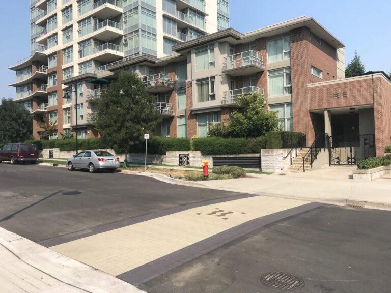 Windsor Gate stamped asphalt crosswalk, streetscape and driveway
