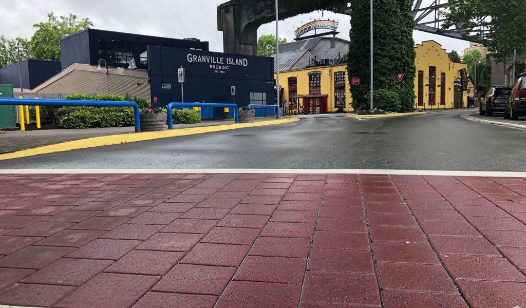 decorative crosswalk with stamped asphalt